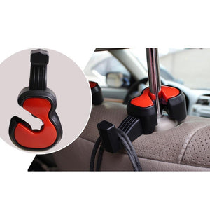 Auwer 2Pcs Cute Violin Shape Universal Car Vehicle Seat Back Headrest Hanger Holder Hook Portable for Bag Purse Cloth Grocery Coat Organizer (Red)