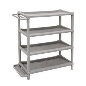 ISWEES Shoe Rack, 4-Tier Plastic Stackable Standing Organizer for Bathroom/Bedroom and Waterproof Storage No Tools Required Lightweight,L73 x W30 x H83 cm,Grey