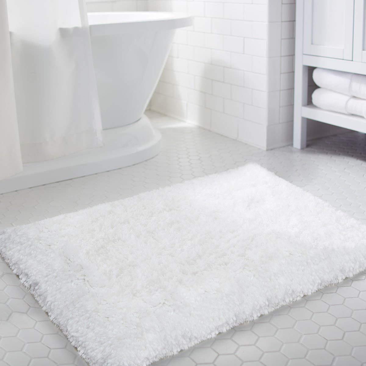 LOCHAS Luxury Soft Bathroom Rug Non-Skid Rubber Back Water Absorbable Bath Mat Decorative (1.6' x 2.6')