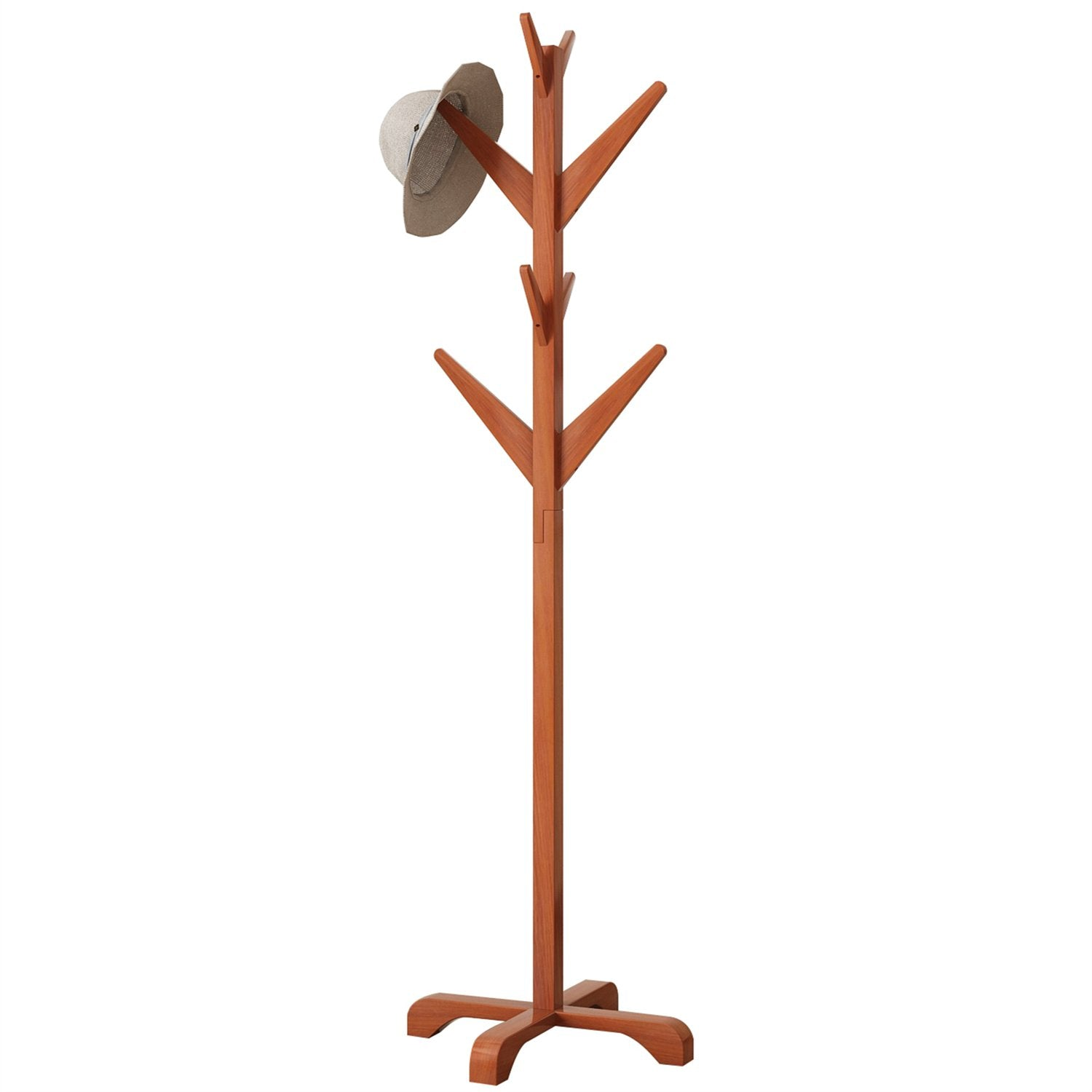 DlandHome Solid Wood Coat Rack, Entryway Free Standing Hat Jacket Coat Hanger Clothing Rack, Corner Hall Umbrella Tree, YJ001-HC Honey Color, 1 Pack