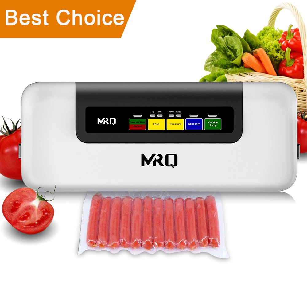 [2018 New 6-in-1] MRQ Vacuum Sealer -Automatic Vacuum Air Sealing System Machine, Handheld Food Sealer, Food Saver for Food Preservation [Dry & Moist Mode] [Normal & Gental Pressure] with 20pcs Bags