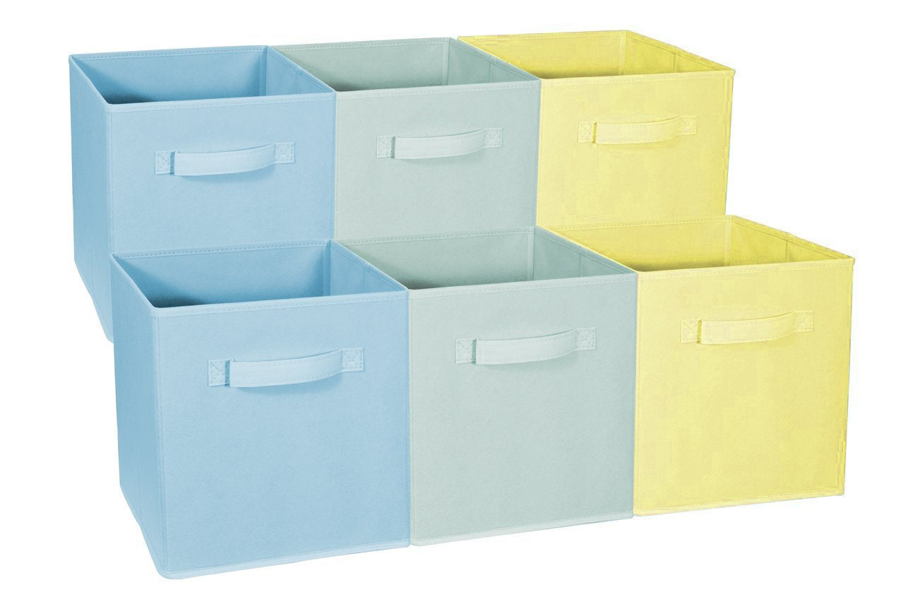 Sorbus Foldable Storage Cube Basket Bin - Great for Nursery, Playroom, Closet, Home Organization (Multi - Blue, Light Green, Yellow, 6 Pack)