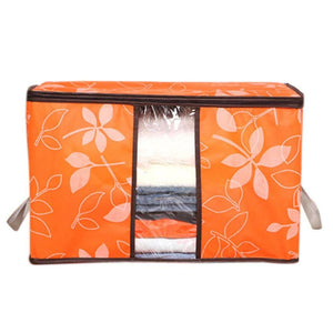 Clearance Storage Bins,WM&MW Foldable Bag Flower Clothes Blanket Closet Zipper Organizer Box (Orange)