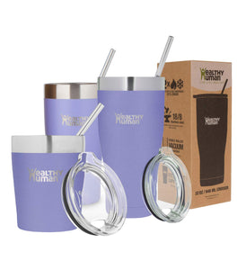 Healthy Human Insulated Stainless Steel Tumbler Cruisers - Travel Cup with Lid & Straw - Vacuum Double Walled Thermos - Idea for Coffee, Tea & Water 20 oz. Lilac
