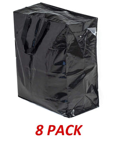 Klickpick Home Heavy Duty Reusable Extra Large Storage Bags -PACK OF 8, Laundry Bag Shopping Moving Totes Bags Underbed Storage Bins With Zipper Closure, Similar To IKEA Bags- Black