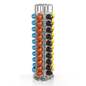 BluePeak Nespresso Coffee Capsule Rack Holder Carousel - Holds 50 Capsules OriginalLine. Elegant and Modern Chrome Finish. 360-degree Rotation. For Citiz, Pixie & Latissima Machines