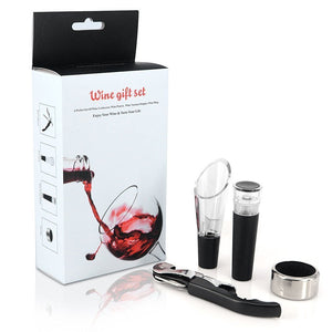 Iseason Wine Accessory Gift Set, Tool Kit Corkscrew Wine Opener Wine Stopper Wine Ring Wine Aerator Pourer Wine Gift 4-in-1 Set