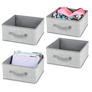 mDesign Soft Fabric Modular Closet Organizer Box with Handle for Cube Storage Units in Closet, Bedroom to Hold Clothing, T Shirts, Leggings, Accessories - Textured Print, 4 Pack - Gray