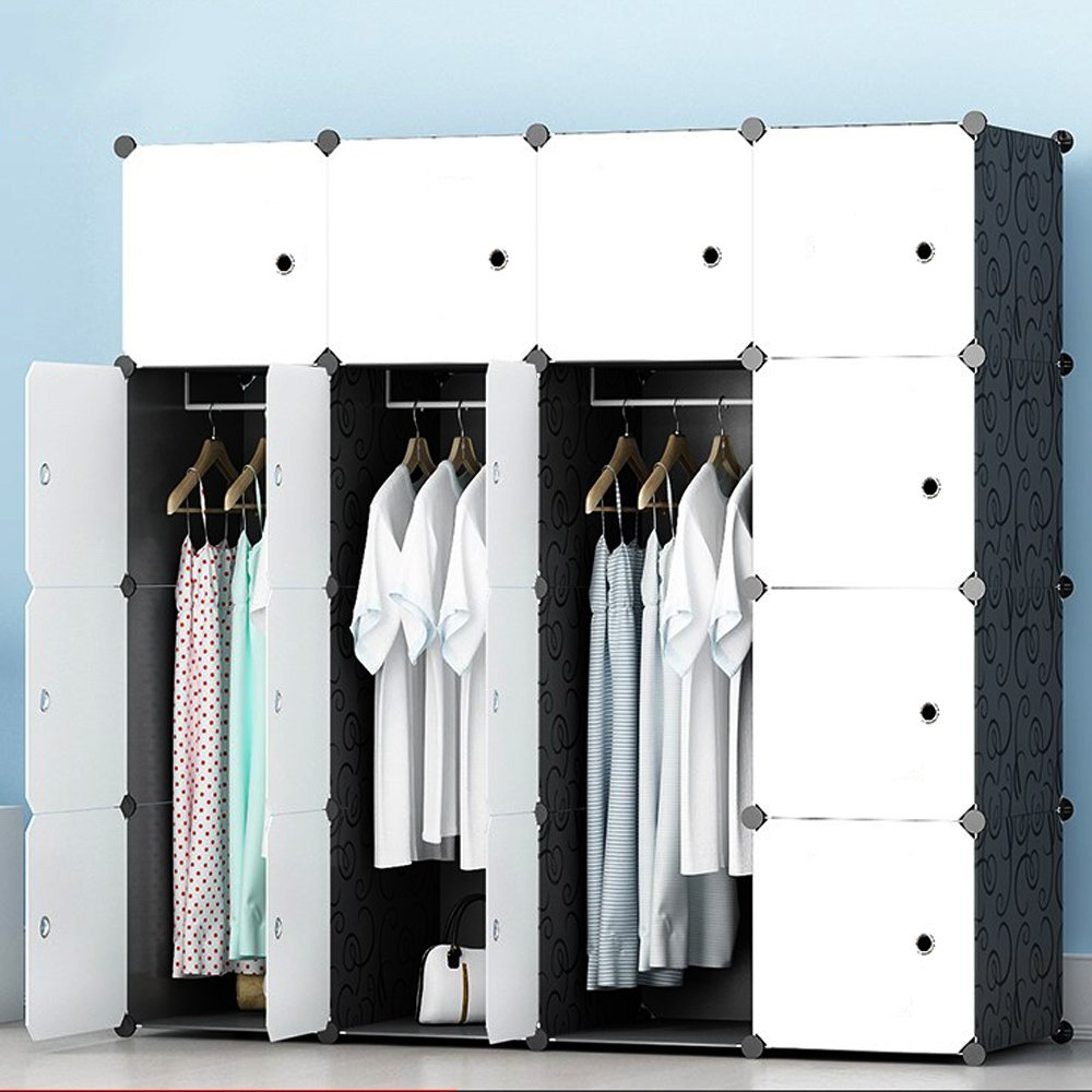 JOISCOPE MEGAFUTURE Modern Portable Closet for Hanging Clothes, Combination Armoire, Modular Cabinet for Space Saving, Ideal Storage Organizer (16 Cubes&3 Hangers)