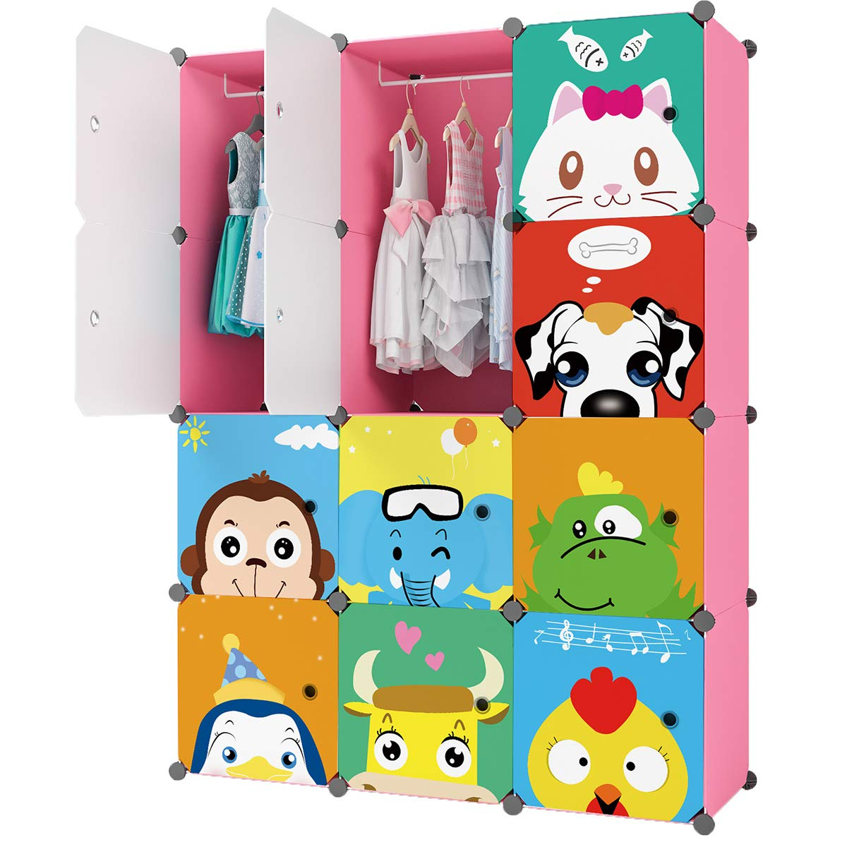 KOUSI Portable Kids Wardrobe Closet Children Dresser Hanging Storage Rack Clothes Closet Bedroom Armoire Cube Organizer Formaldehyde-Free Furniture (Pink, 8 Cubes&2 Hanging Sections)