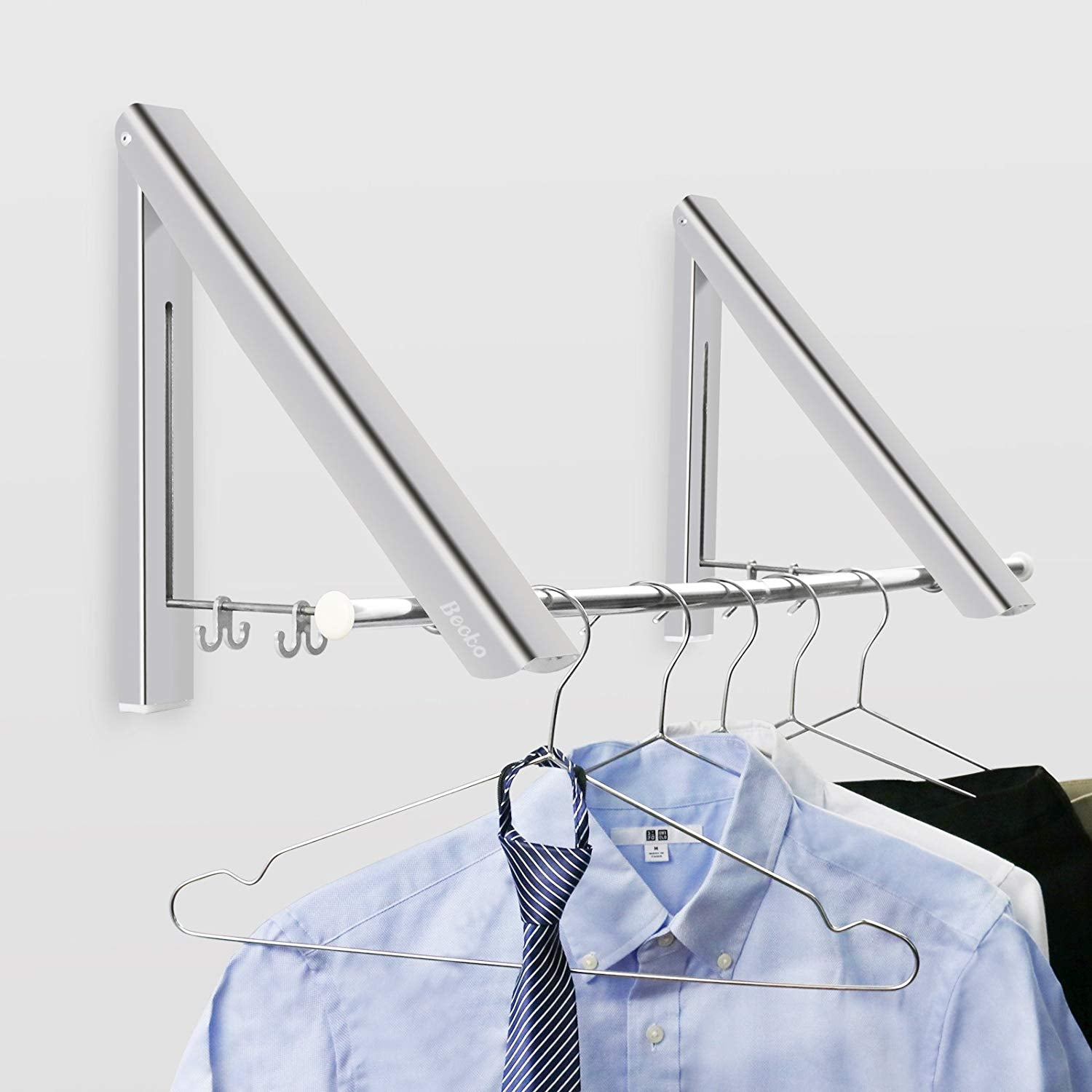 Becko Wall Mounted Clothes Hanger Aluminum Folding Drying Coat Racks Home Storage Organiser 2 Packs