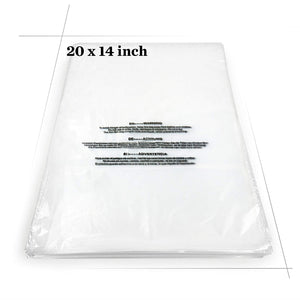 "Becko Self Seal Clear Flat Poly Bags with Suffocation Warning for Storing Clothing/Towel/Blanket/Doll (14""x20"") - 100pcs"
