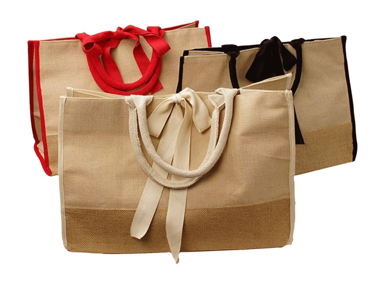 est Reusable Jute Burlap Shopping Bag and All-Purpose Tote for Groceries, Gym Clothes, Laptop, Diapers & Carry-On Items. Rope Handles. Large: 17 ½ X 11 ½ X 8 ½. (Natural and Red)