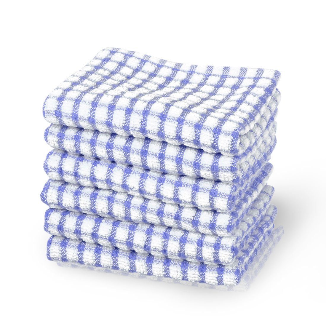 uxcell Cotton Terry Kitchen Towels Dish Cloth, Cleaning Drying Hotel Wash Cloth, 15 x 10.5 inches, pack of 6, Blue