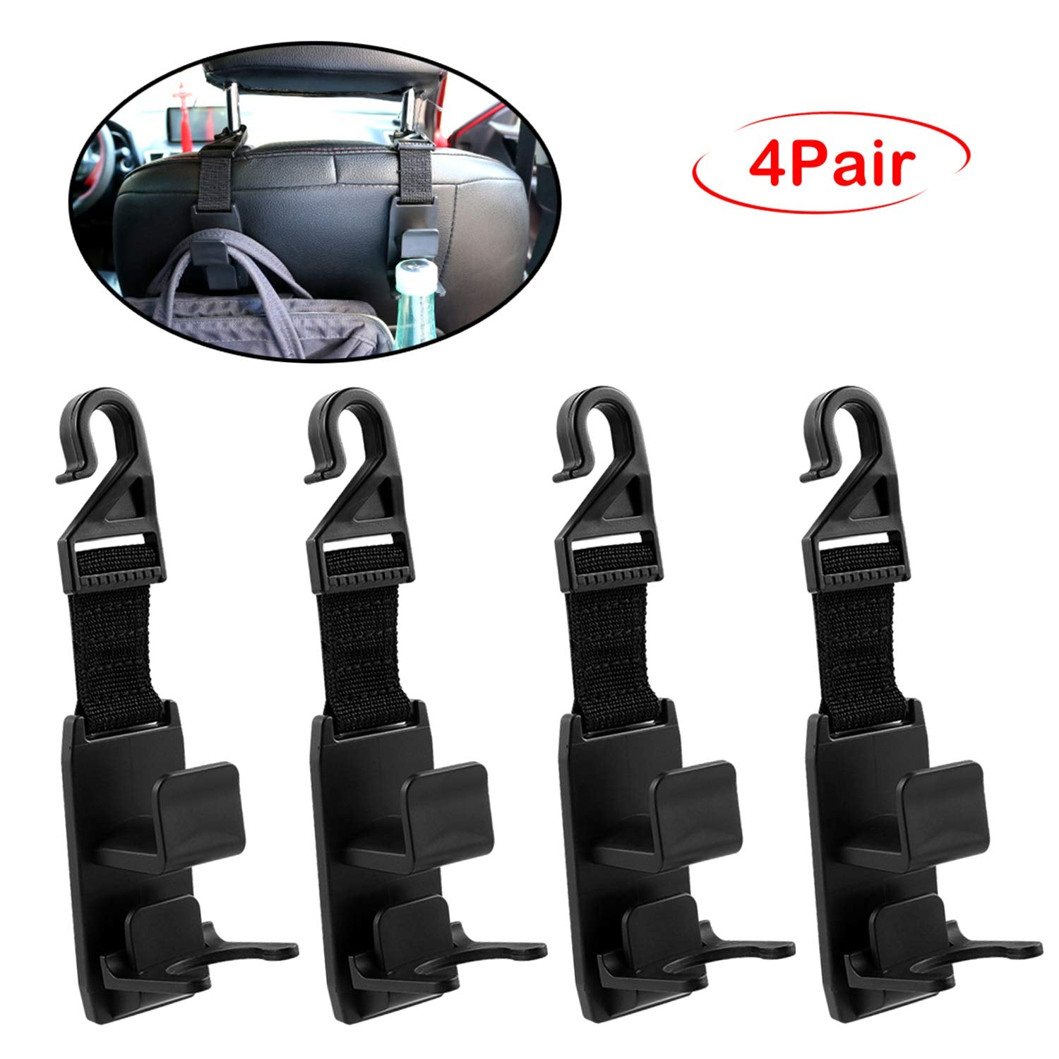 Headrest Hooks for Car, Bestwin Headrest Hanger for Purse, Handbag, Grocery Bags, Coat and Bottle, Universal Vehicle Headrest Hook Holder