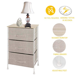 ITIDY 3-Drawer-Dresser,Nightstand,Bedside Table,End Table,Storage Chest for Nursery,Closet,Bedroom and Bathroom, NO Tool Required to Assemble,Patent Design,Limited Edition,Linen