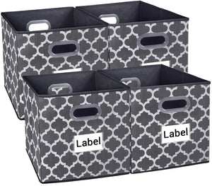 Homyfort Cloth Storage Bins,Foldable Basket Box Cubes containers Organizer for Closet Shelves Toys Clothes Set of 4 Gray with Lantern Pattern 13''x13''x13''