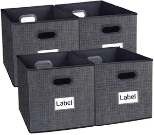Homyfort Cloth Storage Bins, Foldable Basket Cubes Organizer Container Drawers with Dual Plastic Handles for Closet, Bedroom, Toys, 6 Pack,Stripe