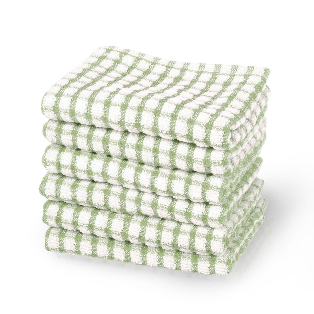 uxcell Cotton Terry Kitchen Towel Dish Cloth, Cleaning Drying Hotel Wash Cloth, 15 x 10.5 inches, Pack of 6, Green