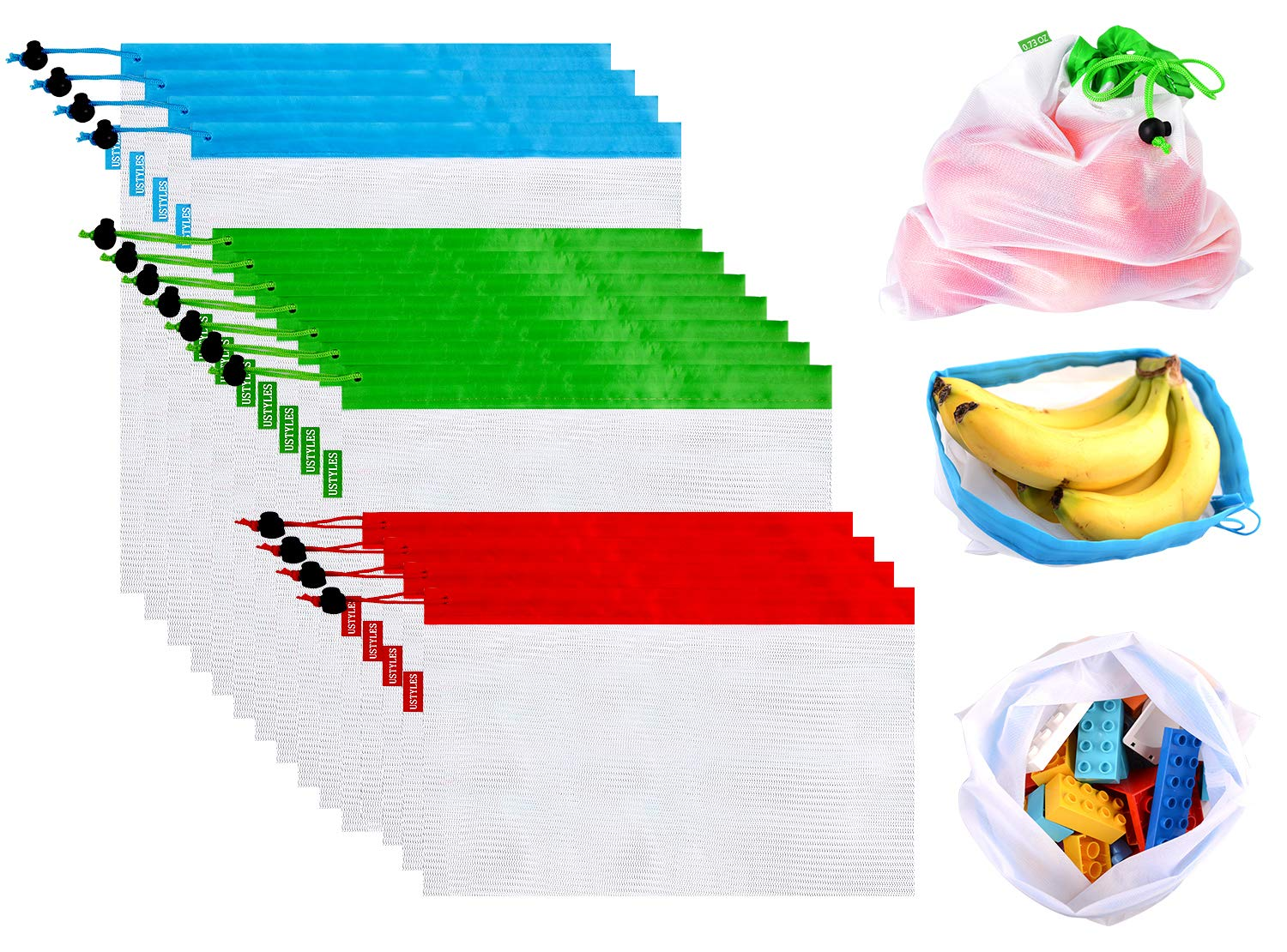 Upgrade Reusable Produce Bags 15Pcs, Zero Waste Reusable Produce Bags Double-Stitched Washable Lightweight See Through with Tare Weight Labels Eco Friendly Produce Bags for Fruit Veggies Toy