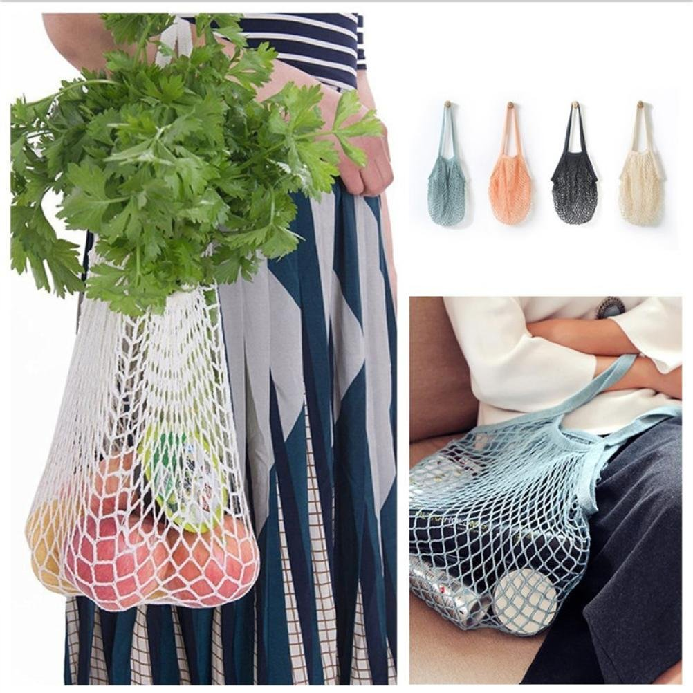 LtrottedJ Mesh Net Turtle Bag String Shopping Bag Reusable Fruit Storage Handbag Totes New (White)