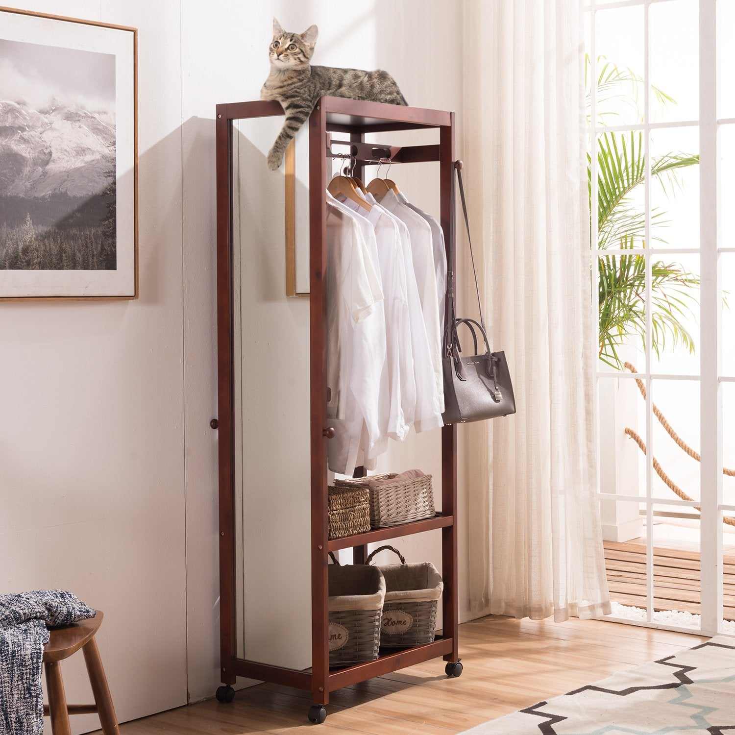 67'' Tall Free Standing Closet Wardrobe Bedroom Armoires with Full Length Dressing Floor Mirror,Brake Wheels,Hanger Rod,Coat Stand,Coat Hooks,Entryway Storage Shelves Organizer-Solid Pine Wood,Brown