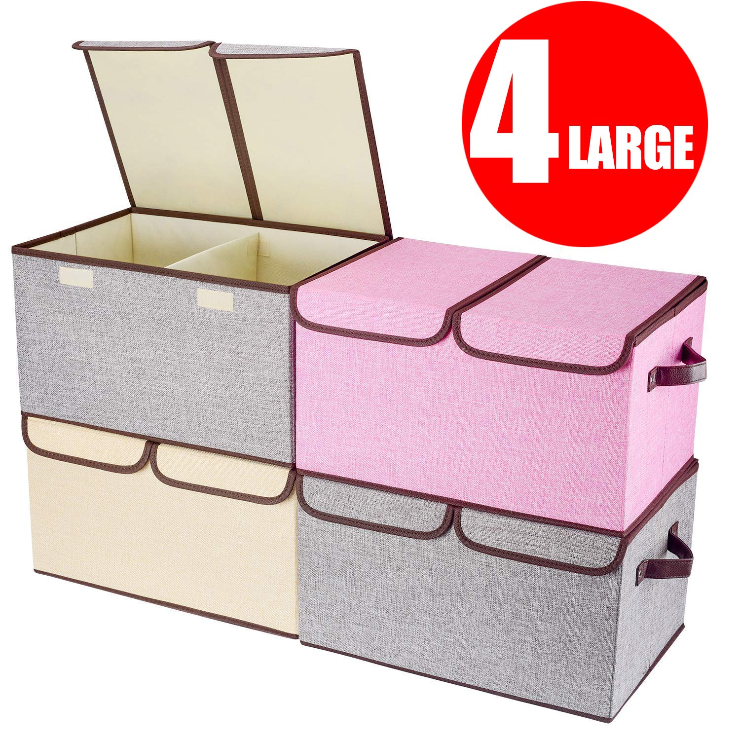 "Larger Storage Cubes [4-Pack] Senbowe Linen Fabric Foldable Collapsible Storage Cube Bin Organizer Basket with Lid, Handles, Removable Divider For Home, Office, Nursery, Closet - (17.7 x 11.8 x 9.8"")"
