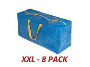"35""X17""X13""- Pack of 8,Klickpick Home Heavy Duty Extra Large Reusable Storage Bags, Laundry Bag Shopping Moving Totes Bags Storage Bins Backpack Handles,-LARGER THAN IKEA FRAKTA BAGS"