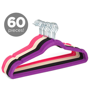 Best Choice Products Set of 60 Multifunctional S-Shape Non-Slip Slim Lightweight Clothes Hangers (Multicolor)