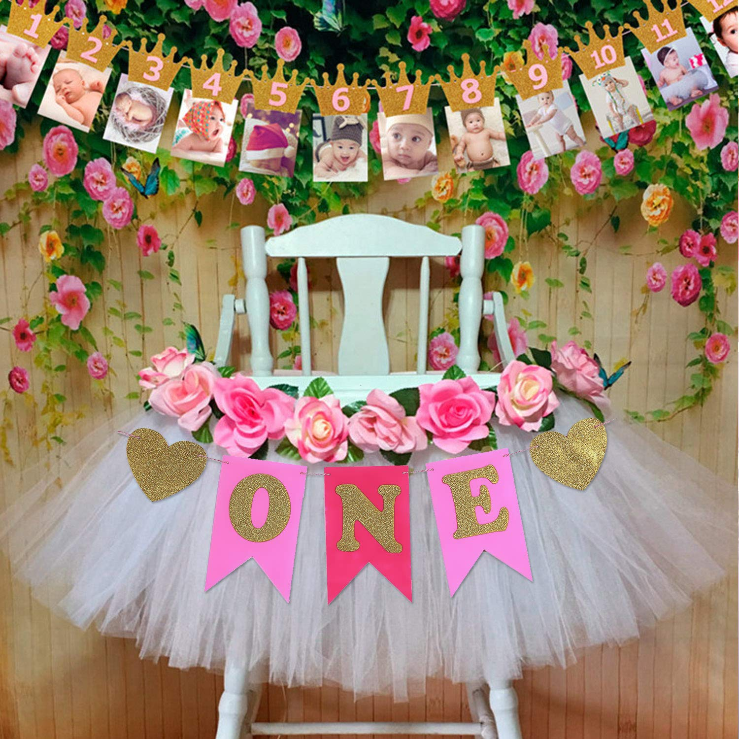 EVAIL 1st Birthday Party Decorations Pack - Baby Girl First Birthday Glitter Crown Monthly Milestone Photo Banner from 1 to 12 Months and ONE Pink Glitter Pennant Banner