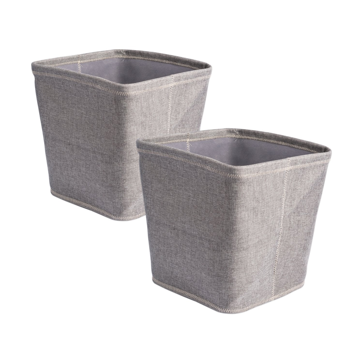"DII Collapsible Polyester Storage Basket or Bins, Home Organizer Solution for Home, Office Desk, Shelf, Bedroom & Closet (Set of 2 Large Cubes - 13"") - Gray"