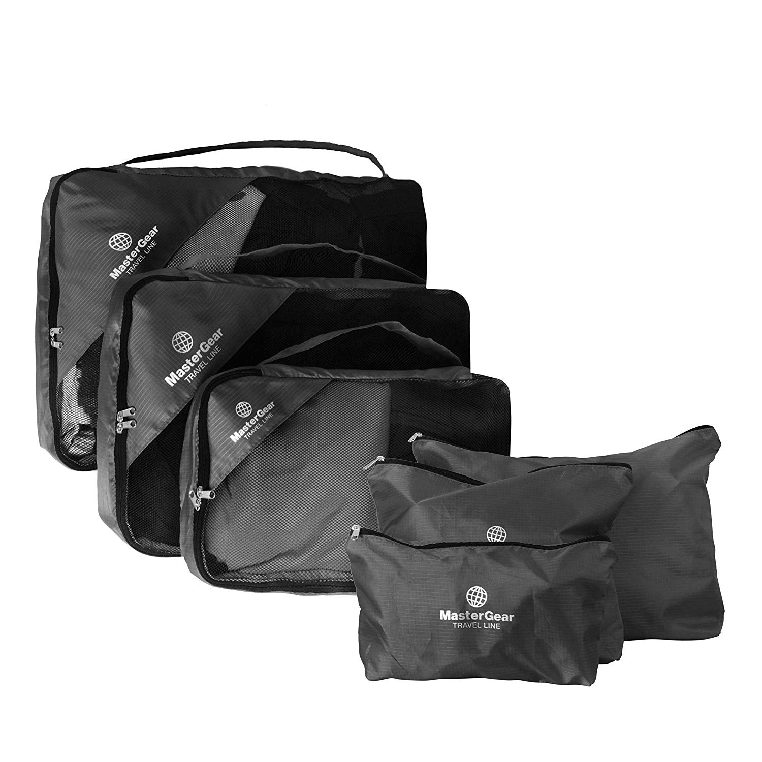 MasterGear Travel Bags – Suitcase Organisers – Set of 6, Including Toiletry Bag, Makeup Organiser – Packing Cubes