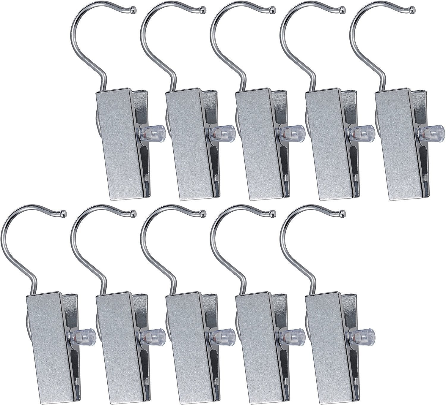 Pro Chef Kitchen Tools Stainless Steel Hanging Clip Hook - Set of 10 Brushed Nickel Clips to Organize and Hold Boots, Ball Caps, Baseball Hats, Laundry Hanger Metal Spring Clothespin Replacement