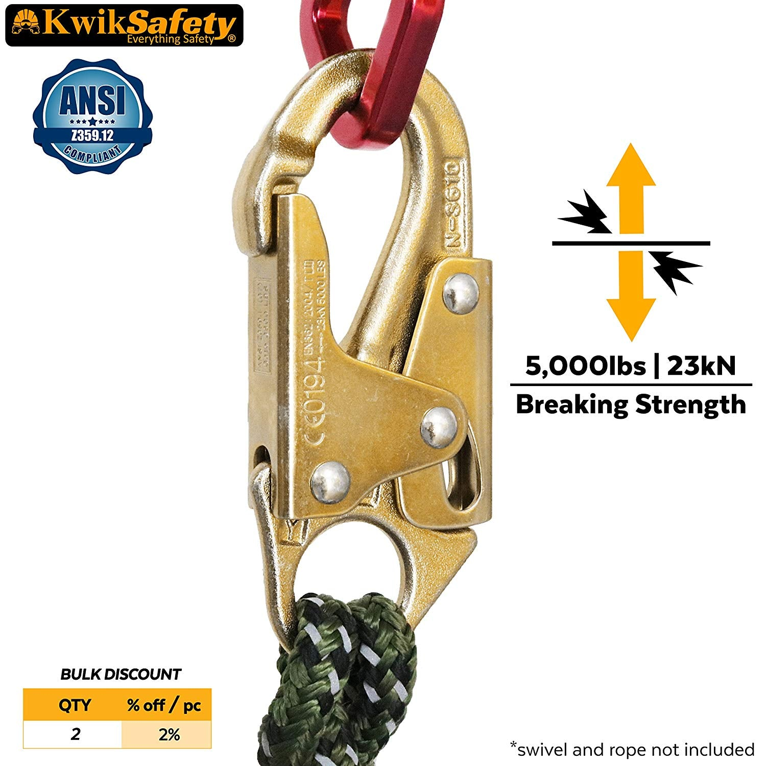 KwikSafety BOND | N-3610 Yoke ANSI Compliant Double Lock Snap Hook | Heavy Duty Heat Treated Forged Steel Connector | Personal Fall Arrest Industrial Construction Utility Hardware | 5,000lbs (23kN)