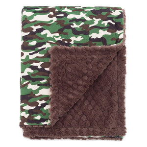 "Baby Laundry Green Camo Patterned Minky Cuddle Blanky (13""x18"")"