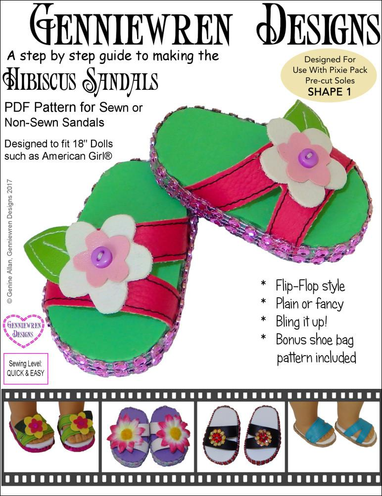 "Hibiscus Sandals 18"" Doll Shoes"