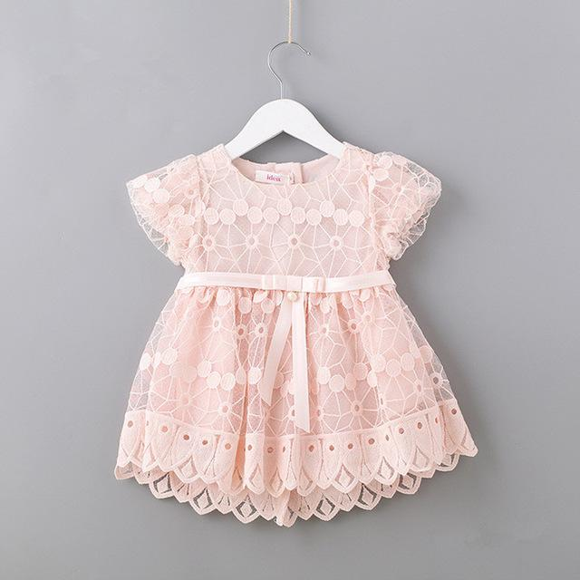 Newborn Flowers Embroidery Puff Sleeve Girls Dress Christening Birthday Party Baby Clothing Toddler Girl Clothes pink white 0-2T