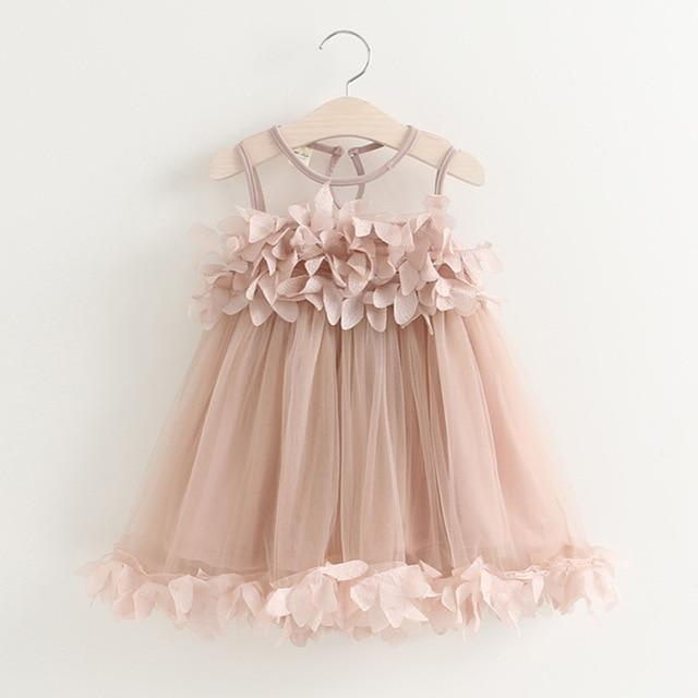 New Summer Mesh Girls Clothes Pink Applique Princess Dress Children Summer Clothes Baby Girls Dress