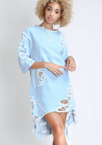Distressed Hi-lo Denim Dress