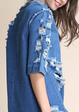 Load image into Gallery viewer, Distressed Hi-lo Denim Dress