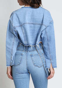 So Cropped Unconstructed Denim Jacket