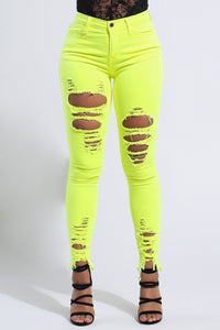 Neon Raw Edges Skinny Jeans