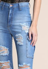 Load image into Gallery viewer, Distressed Utility Jeans