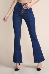 Tall Bell Flare Button-Front Jeans