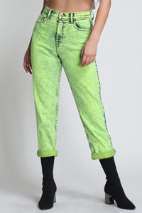 We're Back Mom Jeans in Neon