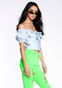 Reflective Puff-Sleeve Top