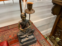 Maitlano Smith figural bronze lamp seated figure