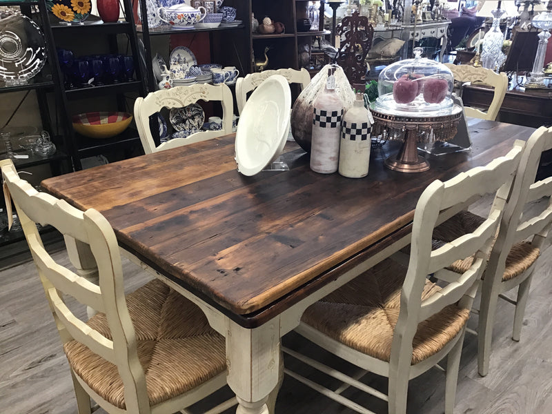 Country shabby chic seven piece dining room table and six chairs