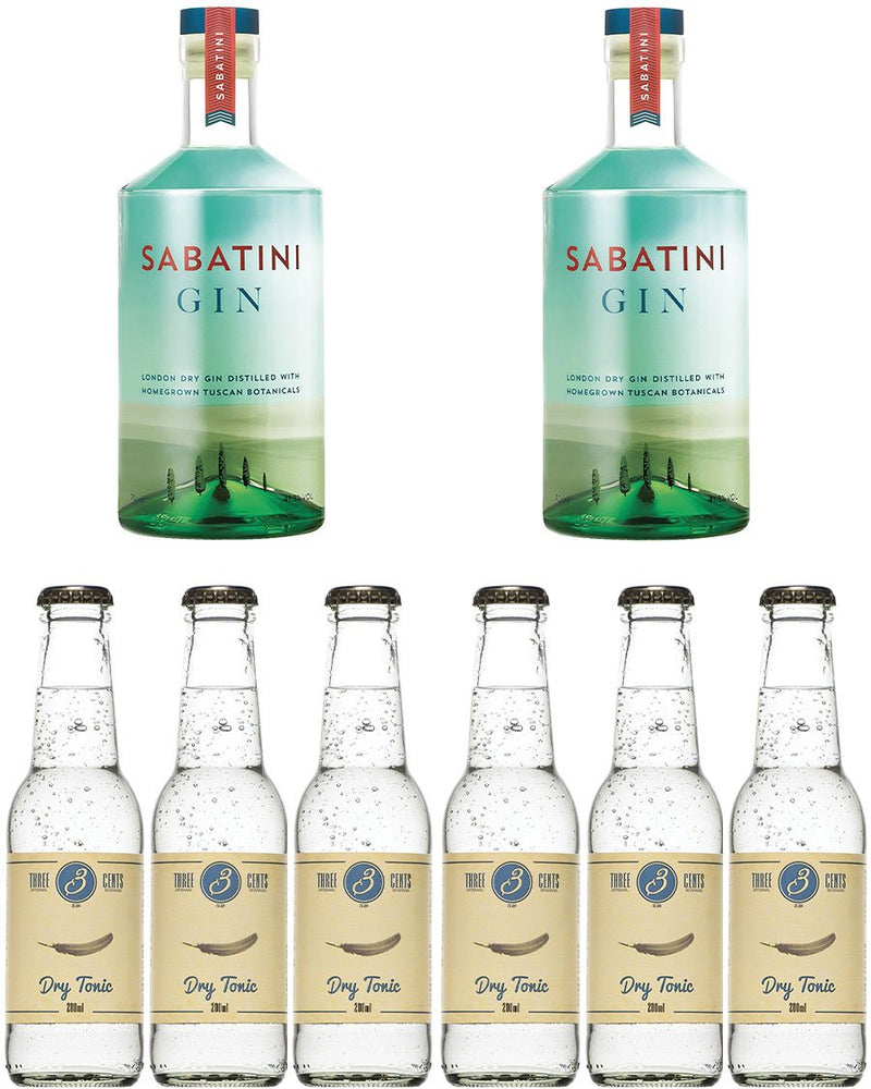 2 Sabatini Gin + 6 Tonic Water Three Cent e Zainetto Omaggio