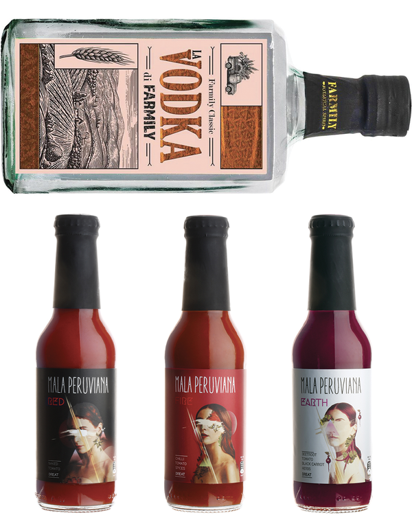 Bloody Mary Kit! Vodka Farmily + 3 Mala Peruviana Omaggio - Farmily (0,70l)